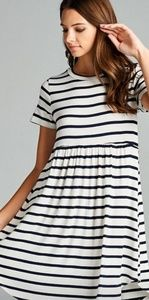 Dresses - Women's buttery soft white and black striped dress